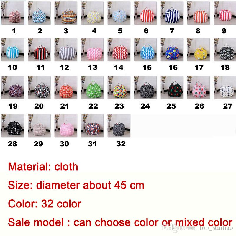 45cm Kids Storage Bean Bags Plush Toys Beanbag Chair Bedroom Stuffed Room Mats Portable Clothes Storage Bag XL-425