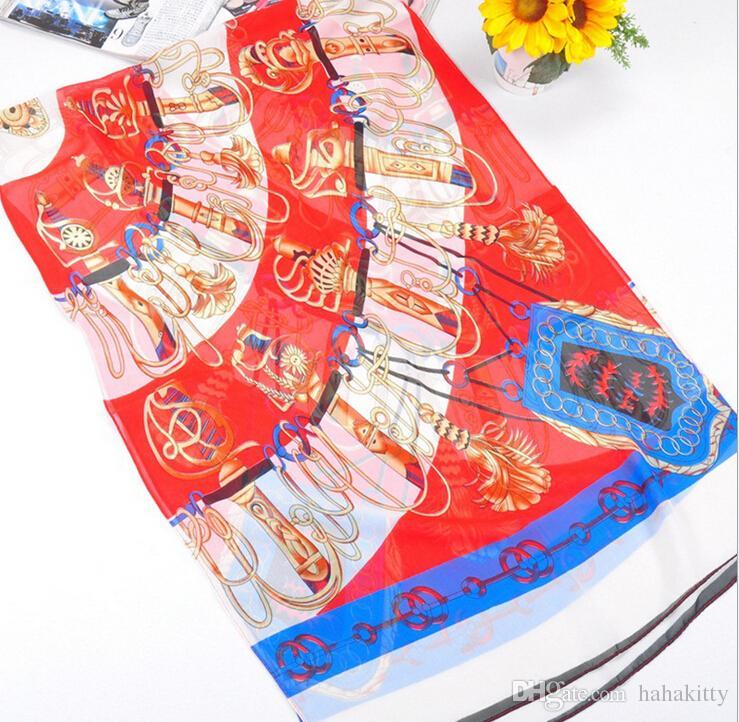 HWJ127 Novas Mulheres Macio Cachecol Moda Sabre Impressão de Seda Chiffon Cachecol 6 cores. Alto Nível. 160x50 cm. 30 pçs / lote Livre DHL