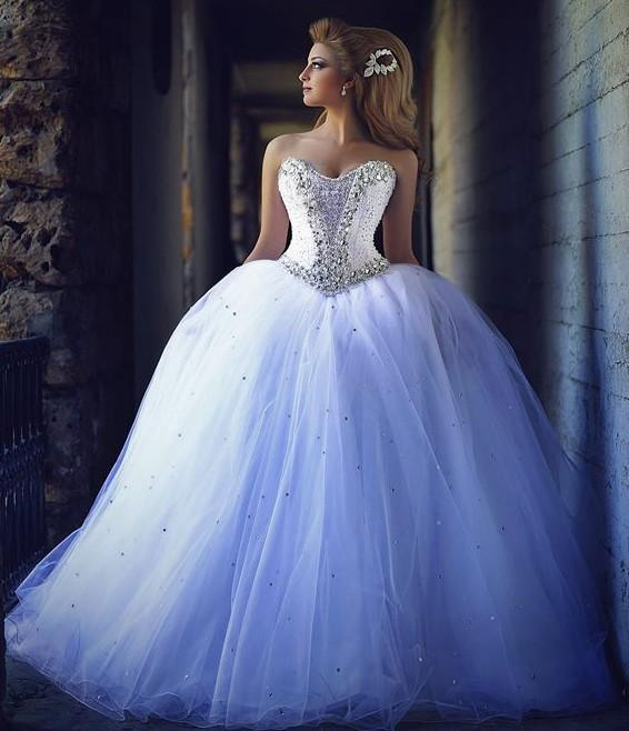 New Vintage Princess Ball Gown Wedding Dresses Beaded: 2015 Ball Gown Wedding Dresses With Rhinestones Vintage
