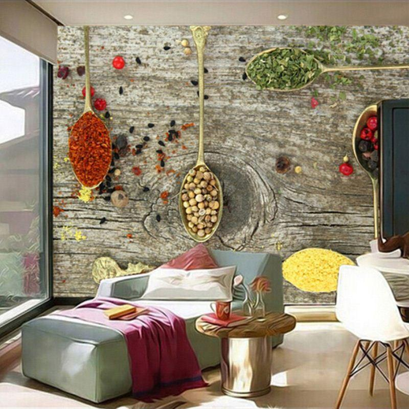 Custom 3D Mural Wallpaper Spices Spoon Food Wallpapers