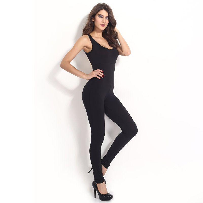 2015 Black Skinny Full Length Jumpsuit Bodysuit Summer New ...