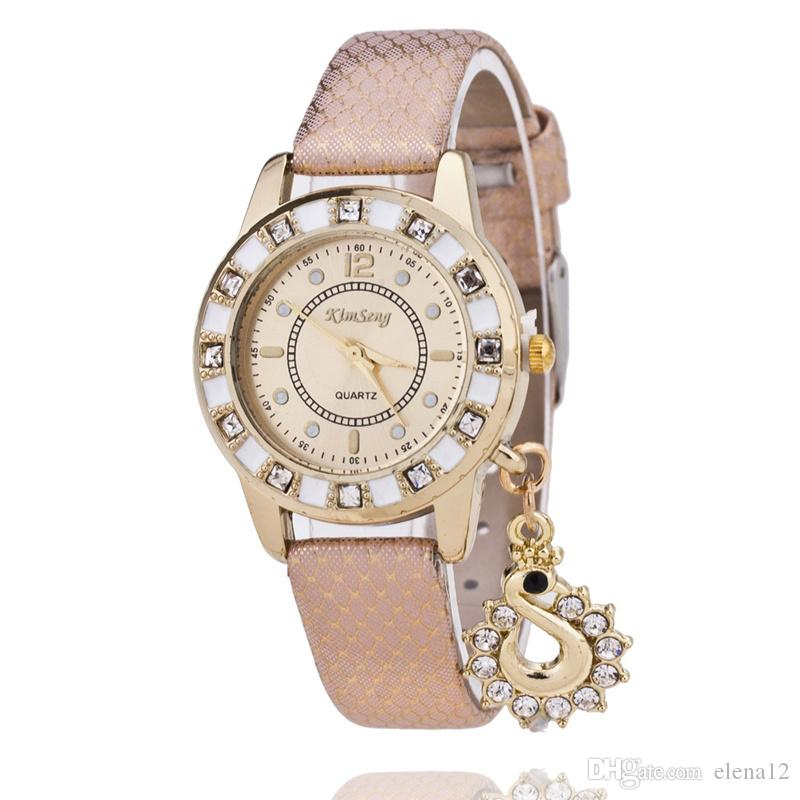 The new diamond swan pendants Watches Shell bracelet watch face President casual leather serpentine table HOT 230107