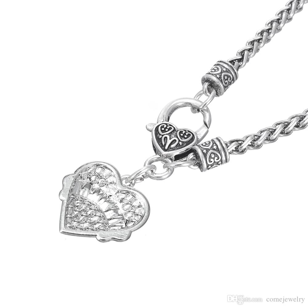 Clear &Pink Heart Crystal Charm TWIRLING Pendant Lobster Clasp Claw Link Chain Thick Necklaces Diy Jewelry