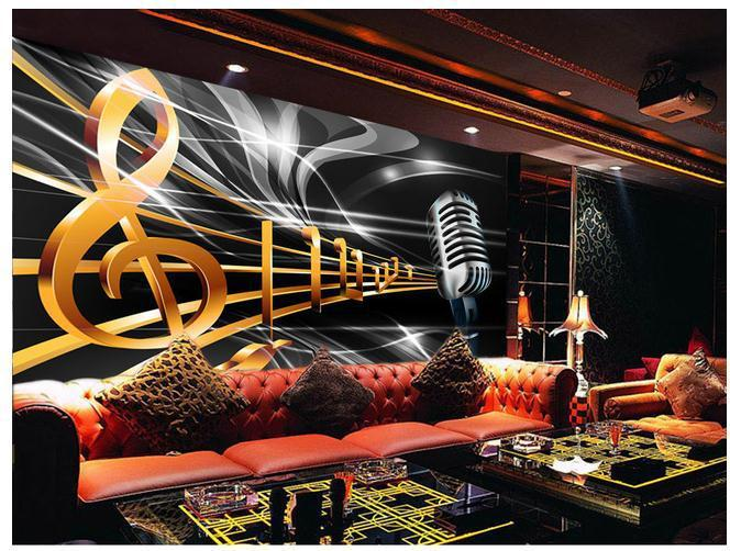 Customize Wallpaper Papel De Parede Dynamic Music Notation Bar Ktv Box Backdrop 3d Free Shipping6870 Backgrounds For