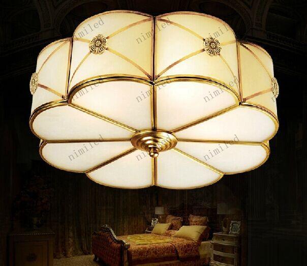 Nimi502 Luces Retro Americanas Europeas Arte Marco de Cobre Lámpara de Techo LED Luz de Techo Sala de estar Sala de Iluminación Redroom