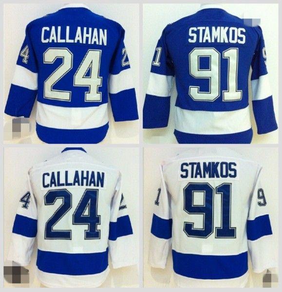 2018 tampa bay lightning youth jerseys ice hockey 91 steven stamkos jersey kids blue white 24 ryan c