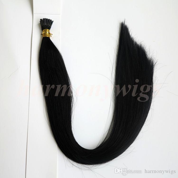 Предварительно связали палку я Совет человеческих волос 100 г 100 пряди 18 20 22 24inch #1 / Jet черный прямые бразильские индийские волосы