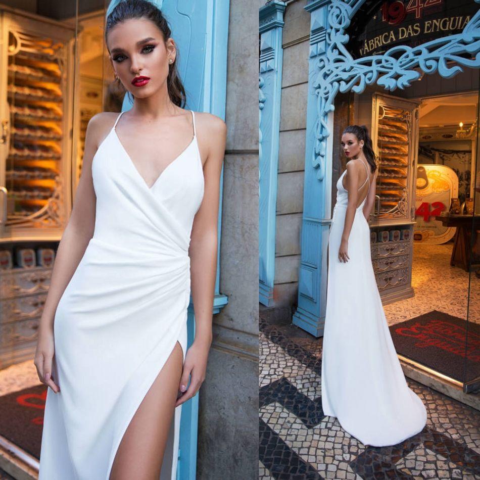 Milla Nova Side Split Evening Dresses Backless Spaghetti Sweep ...