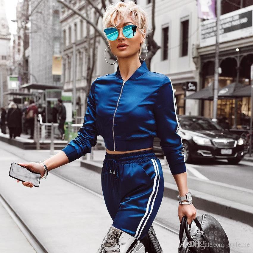 2019 celebrity street style women fashion tracksuits 2018 spring autumn collar side white for Celebrity watches 2019 women