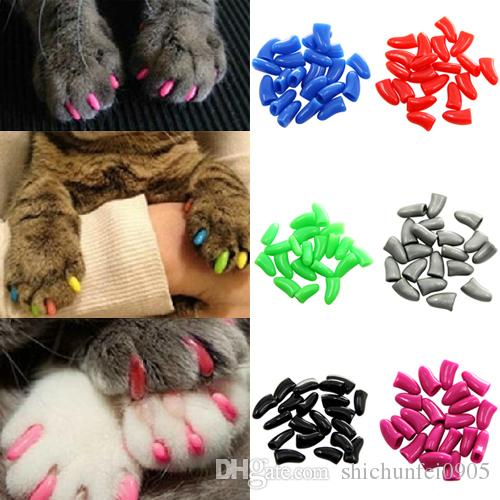 Hot New Colorful Soft Pet Dog Cat Kitten Paw Claw Control Nail Caps Cover TT106