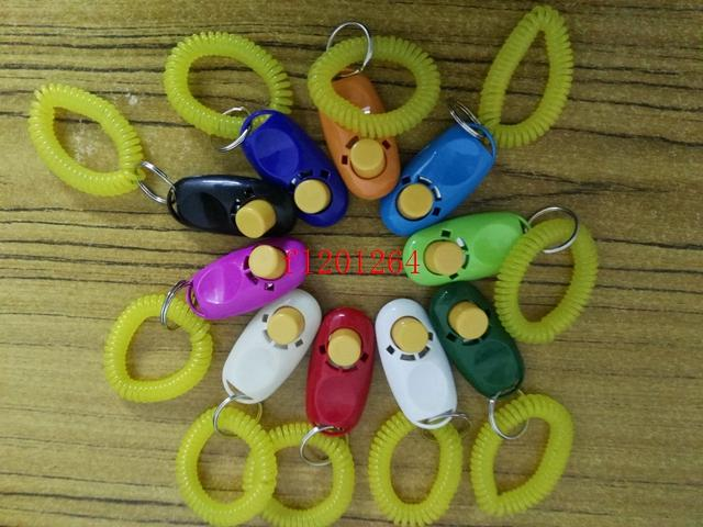 Colorful clickers pet dog cat horse bird click obedience clicker Training Trainer with strap