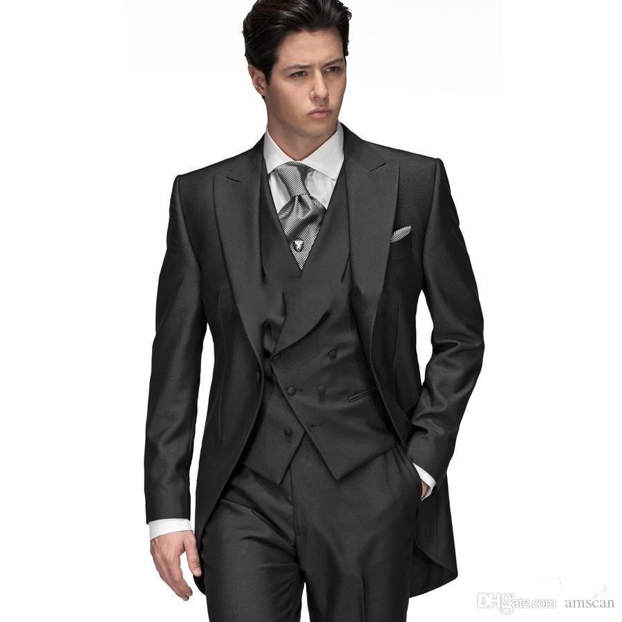 Jacket+Vest+Pants Three Pieces Peaked Lapel One Button Grooom Tuxedos Custom Made Formal Occasion Mens Suits Prom Party Wedding Suits