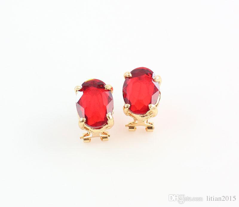 Set di gioielli in oro placcato in oro 18 carati New Fashion Red Austria Accessori matrimonio in strass di cristallo Set di collana di dubai