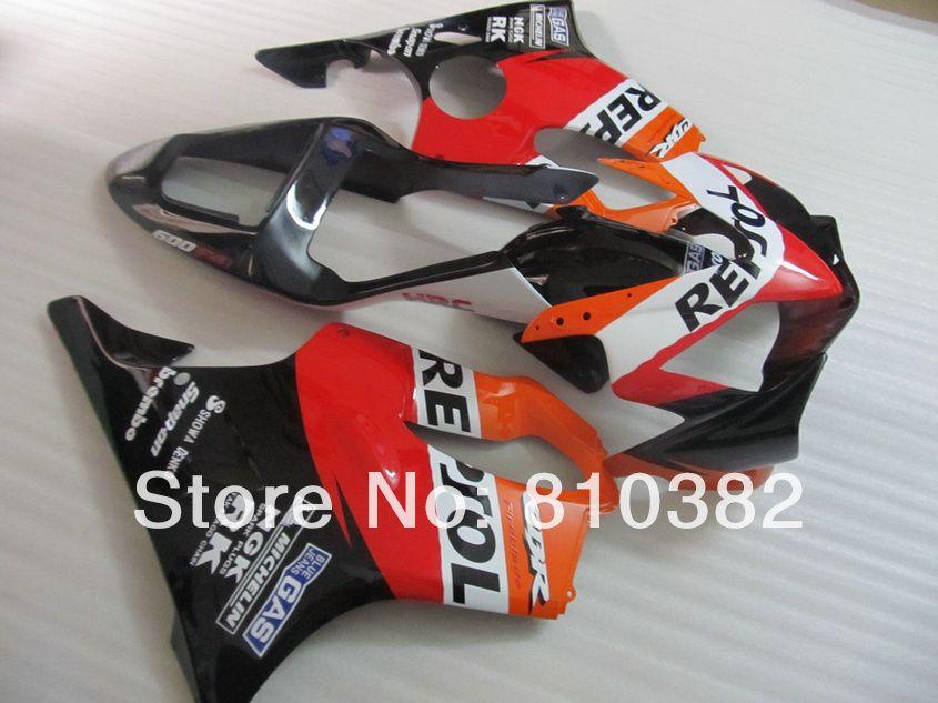 Fairing kit for HONDA CBR600 F4I 01 02 03 CBR600F4I 2001 2002 2003 F4I CBR600 REPSOL red black ABS Fairings 0013