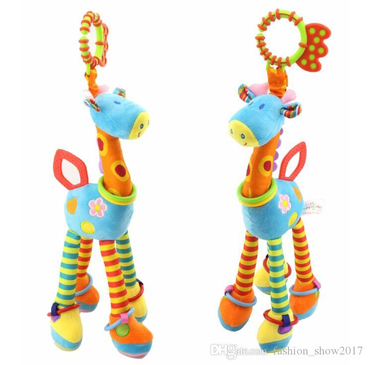 37cm Giraffe Activity Spiral baby bed pram hanging toys baby stroller plush toy infant gifts