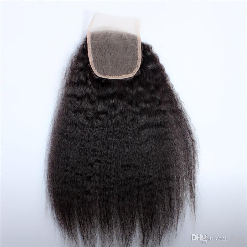 Afro verworrene gerade grobe yaki brasilianische reine Haarwebart des Haares mit Verschluss-Mischungslänge 8-28inch der Spitzenspitze Los geben Verschiffen frei