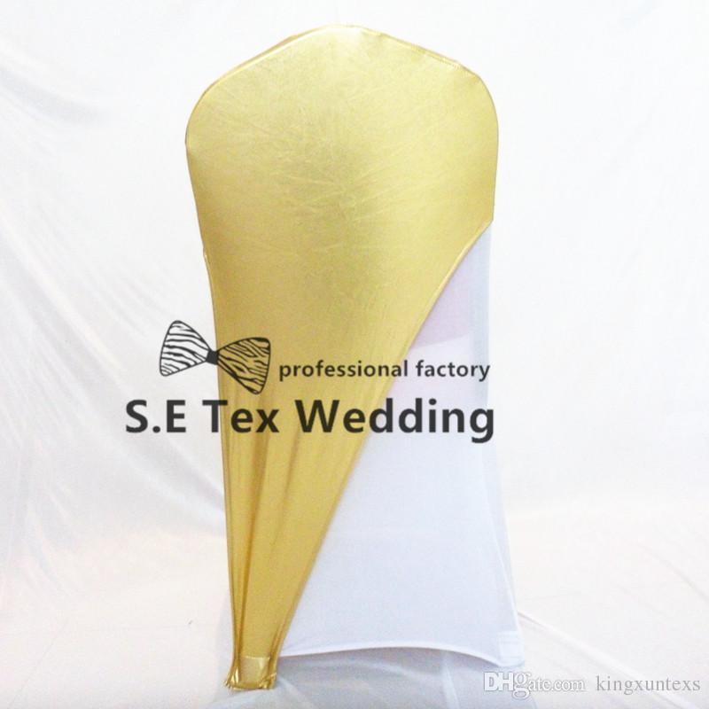Cor do ouro Bronzing Revestido Lycra Spandex Cadeira Cap capa Fit For Banquete de Casamento Cadeira Coberta frete grátis