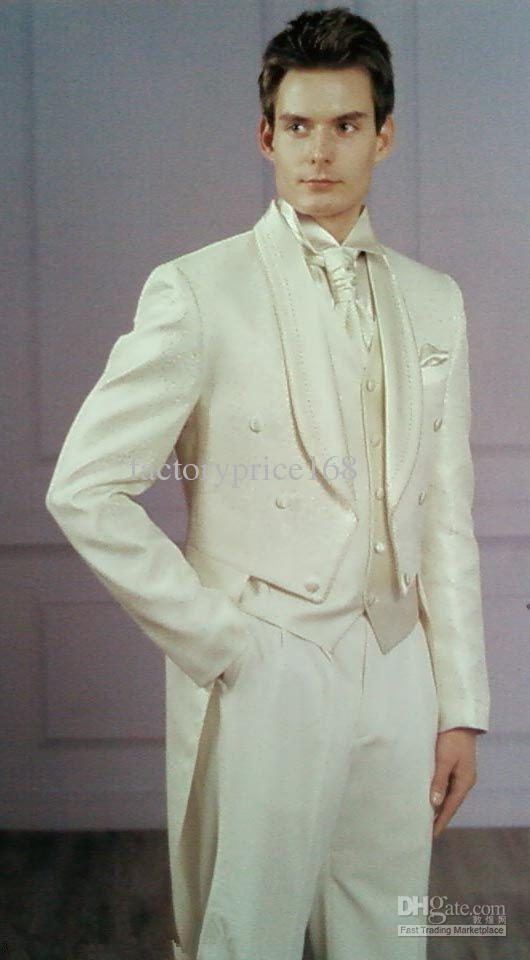 Высочайшее качество белый шаль воротник Новый двусмысленный жених свадебные свадьбы мужские костюмы жених кубом куртка + брюки + галстук + жилет 03