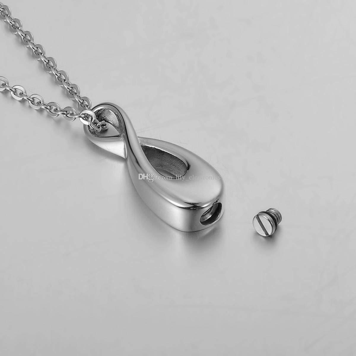 Lily in acciaio inox argento infinito amore cremazione gioielli ceneri ciondolo memorandum commemorativo urna collana con sacchetto regalo e catena