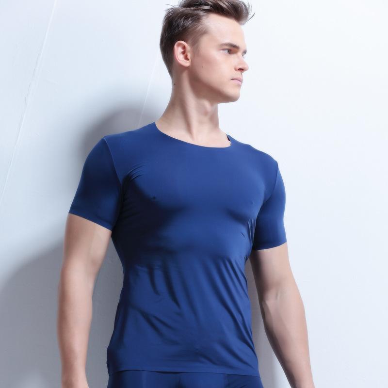 Homem Sexy Sheer Undershirt Homens Gelo Seda Emagrecimento Transparente T Camisas De Malha De Nylon Macho Com Decote Em V Fino Mangas Curtas Tops Roupa Interior Gay