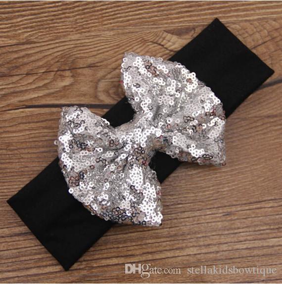 2016 Nueva Posh Girls Headband, Knit Cotton Girls Heaband, Accesorio para el pelo del bebé con lentejuelas Big Bow, Lentejuelas Bow Baby Headwraps