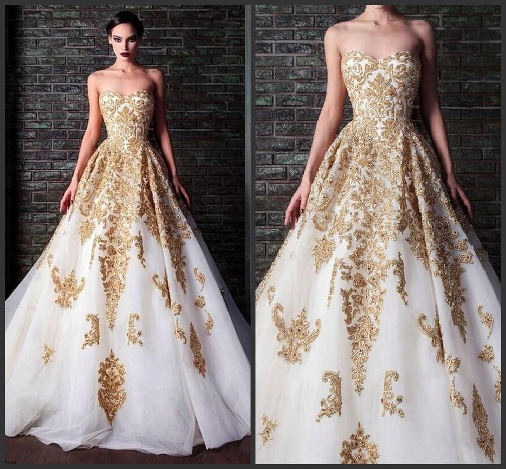 2015 New Arrival White And Gold Wedding Dresses Sweetheart Tulle Lace Appliques Bridal Gowns Satin Ball Gown Dress