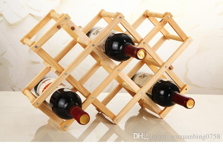 Online Cheap Folding Wood Wine Rack Wine Bottle Holder Storage Organizer  Beer Wisky Holder Display Stand