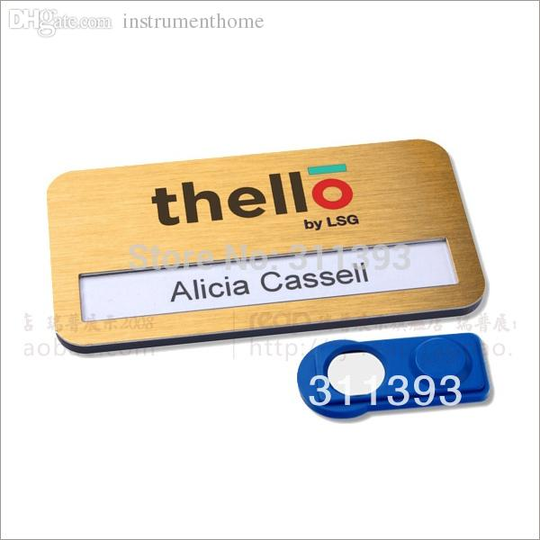 wholesale golden color metal name tags printable magnetic name