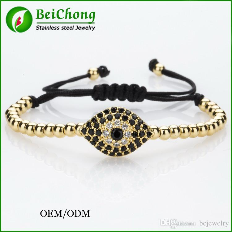 (10pcs) BC Anil Arjandas Fashion Men Black Bracelet,Pave Setting Black CZ Evil Eye Connector & 4mm Round Bead Braiding Men Macrame Bracelet