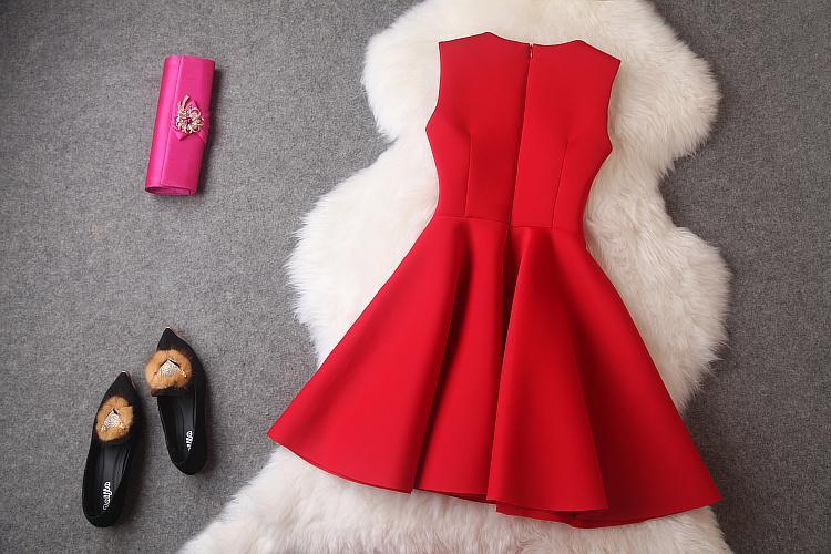 Новая Осень 2014 Зима Платье Красный Рукавов Блестками Мини Платья Черный Принцесса Офис Свободного Покроя Женщины Платье