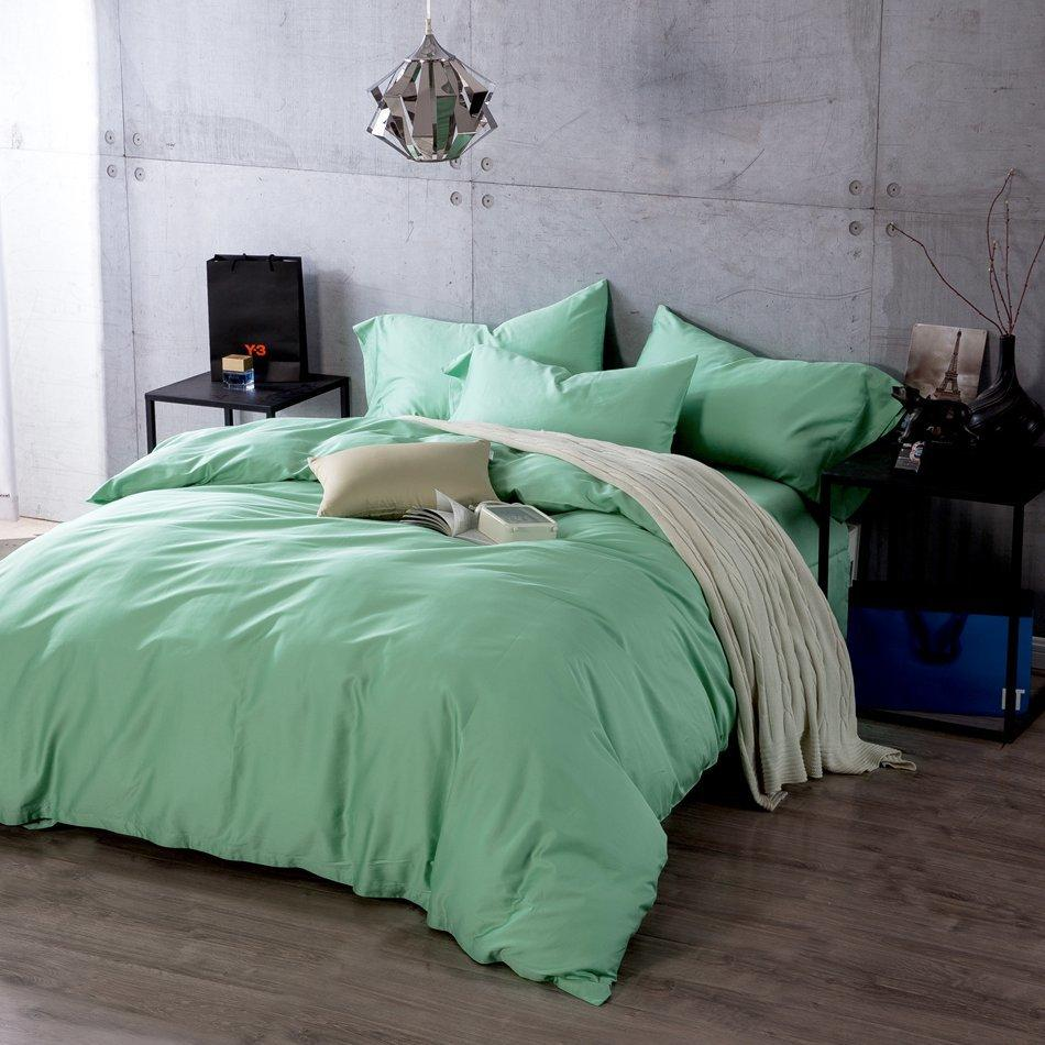 Charmant Fresh Light Green Bedding Set Solid Color Bedding Sets King Queen Size Bed  Linen Bed Sheet Duvet Cover Set Egyptian Cotton Cheap Comforters Duvet  Cover Set ...