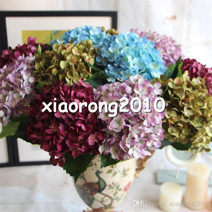 "Silk Single Stem Hydrangea 55cm/21.65"" Length Artificial Floral Hydrangeas for DIY Wedding Bridal Bouquet Accessories"