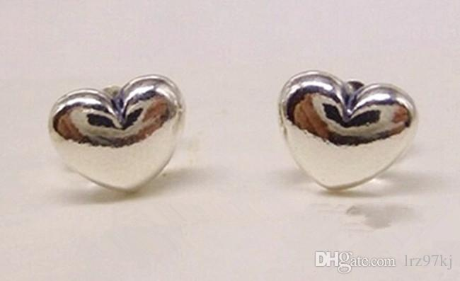 Yeni Yüksek Kaliteli 100% 925 Ayar Gümüş Aşk Kalpler Damızlık Küpe Avrupa Pandora Tarzı Charm Takı Uyar