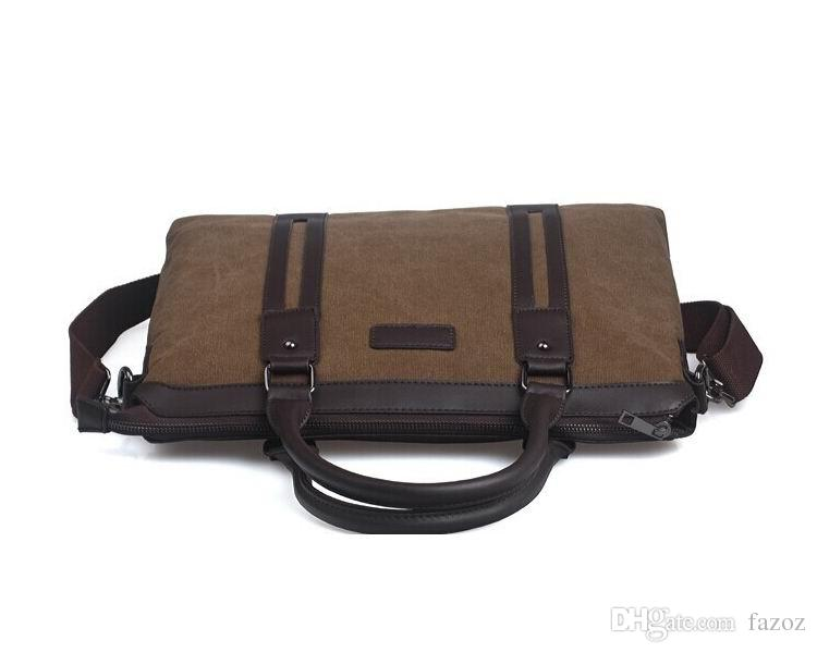 High quality male bag men canvas briefcase top handle laptop notebook handbag business casual single shoulder messenger bag