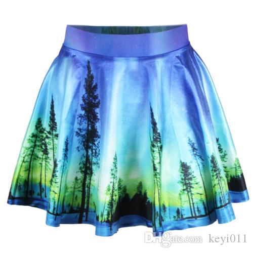 新しい2015年夏の女性のプリーツスカート星空の夜のスカートSaia S M L XLプラスサイズ