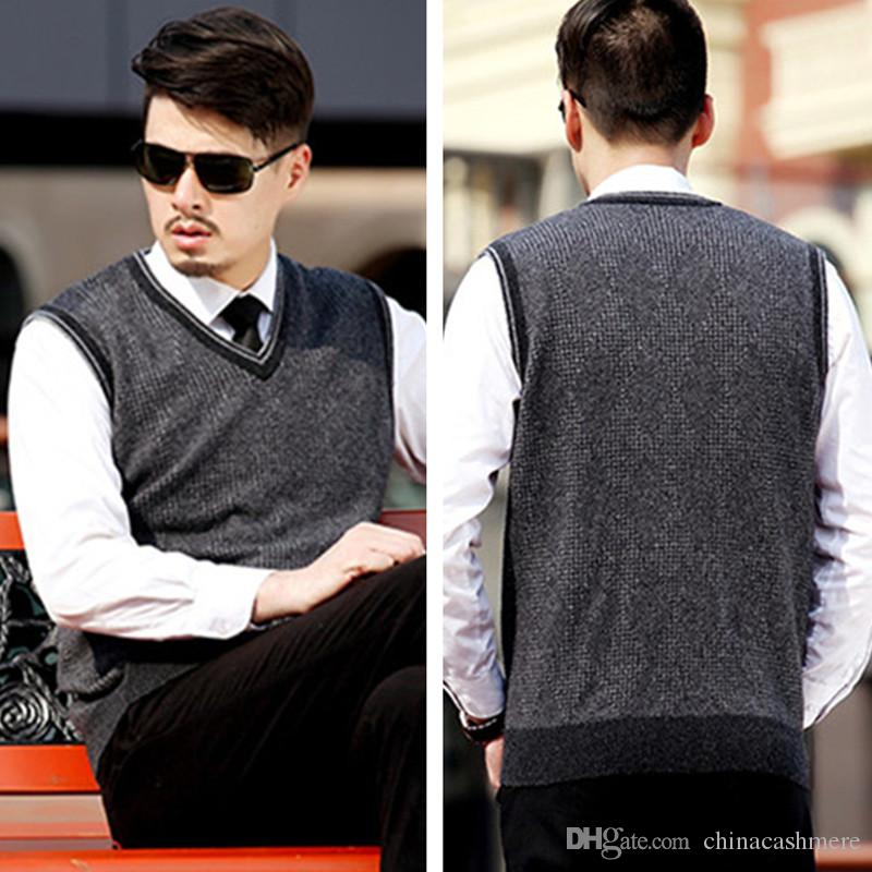2018 100% Cashmere Sweater Vest For Men 2016 Autumn Winter Style V ...