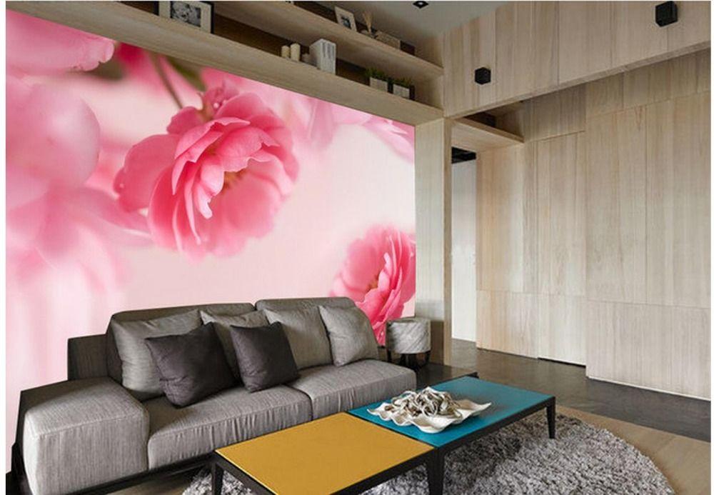 Custom Photo Wallpaper 3d European Fantasy Pink Flowers Retro Sofa ...