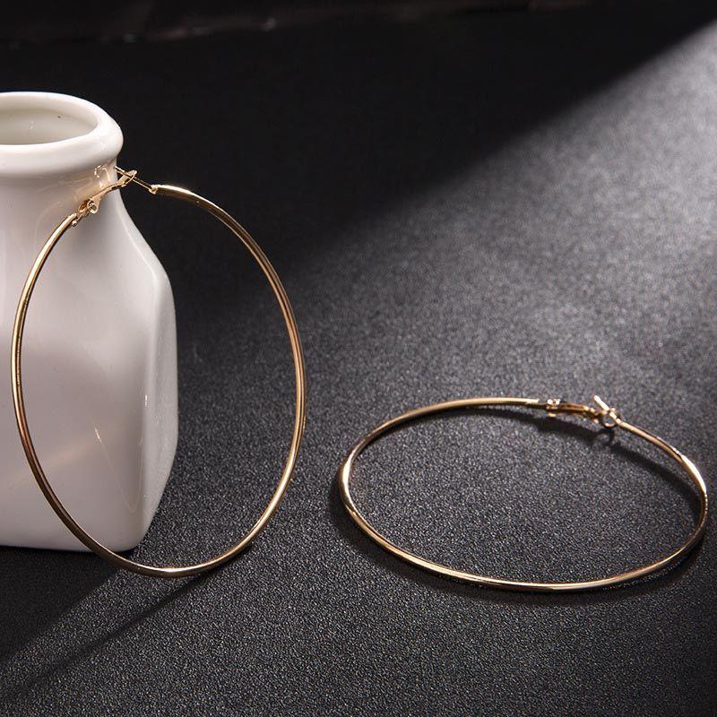 American Trendy Prata Banhado A Ouro Grande Brincos de Argola para As Mulheres de Alta Qualidade Jóias Geométrica Brinco Hoops