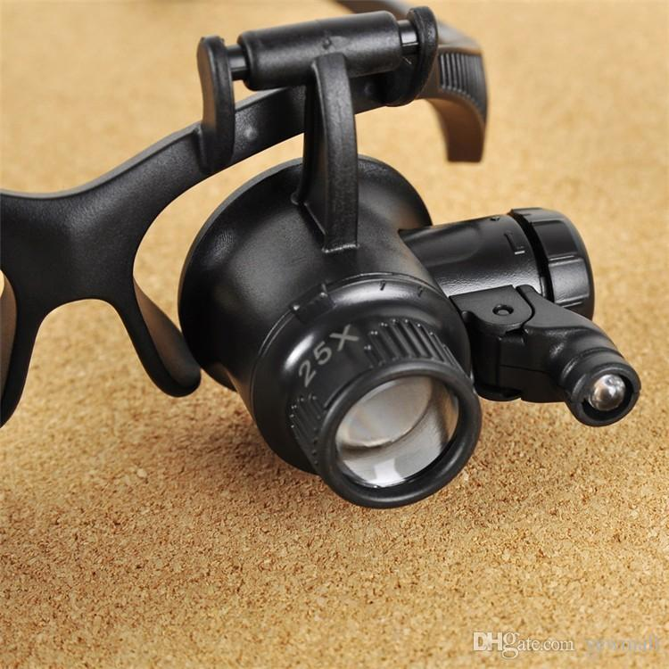 Augenjuwelier Uhrmacher Lupe 2 LED Licht Werkzeuge 10X 15X 20X 25X Vergrößerung Lupa Optische Linsen Lupe 1St