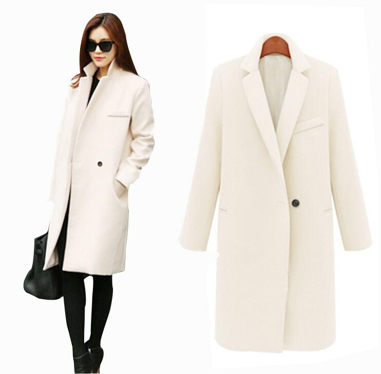 d30af35f735fd 2019 Fall Winter Long Cashmere Coats Women 2015 European And American  Fashion Slim Blazer Neck Long Wool Windbreaker Clothes Coats For Women From  Cnaonist