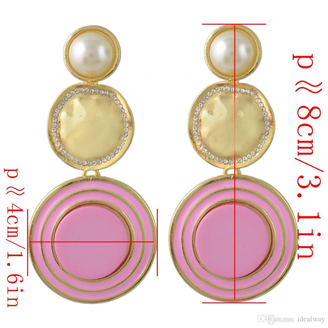 idealway 6 couleurs plaqué or émail ronde perle strass boucles d'oreilles bijoux accessoires pour femmes