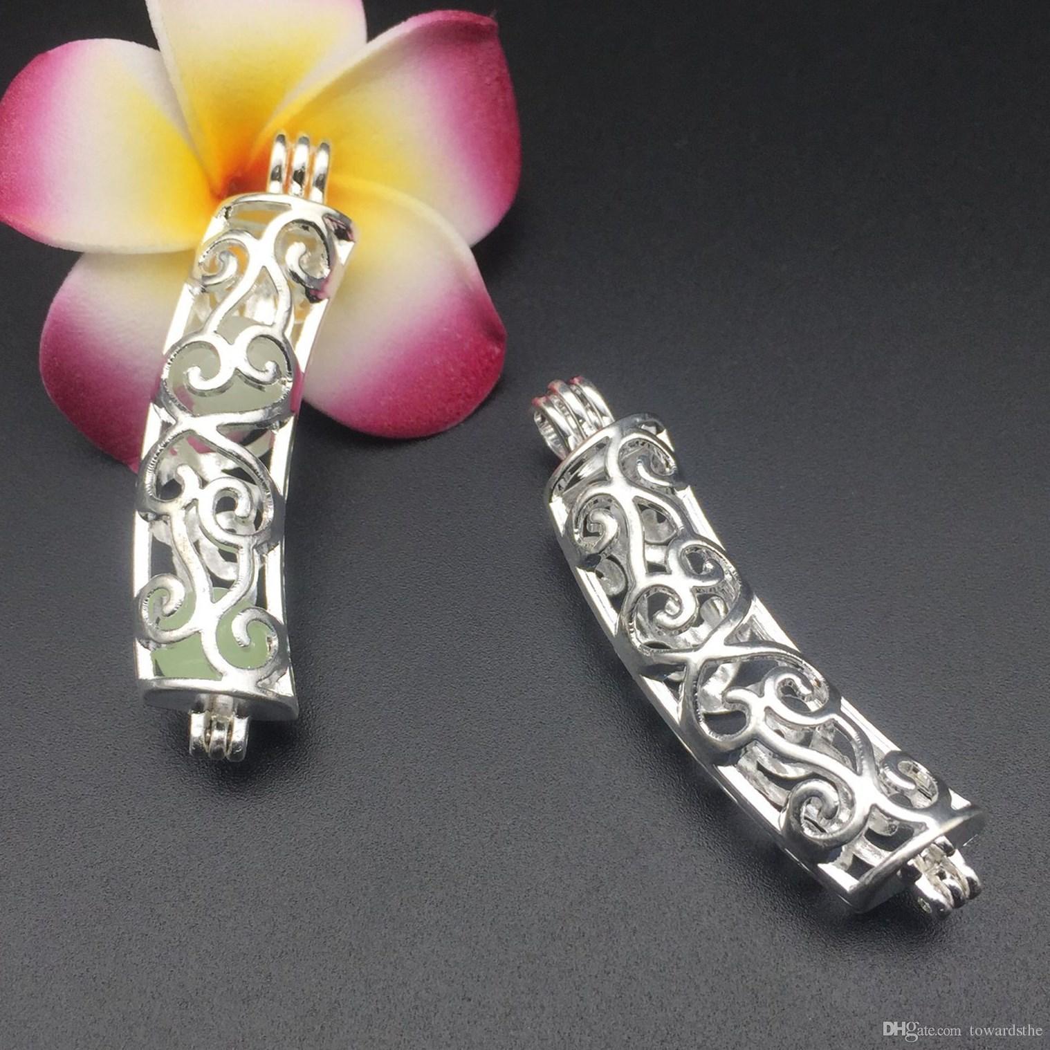 Colgante de collar de jaula de perlas, difusor de aceite esencial, tubo de doblado que proporciona plateadas, además de su propia perla que lo hace atractivo