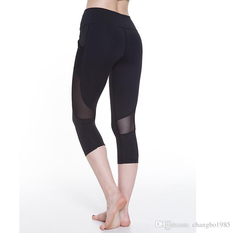 Spandex Quick-drying Yoga Pants mesh Fitness Running Tights Slim Sport Capri Pants Gym Cropped Leggings for Women Trousers