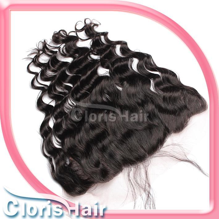 Oreille à l'oreille brésilienne Virgin Lace Frontal Fermeture avec Bundles pas cher bouclés en vrac Human Wave Hair Weave pleine fronteaux Fermeture Pièces 13x4