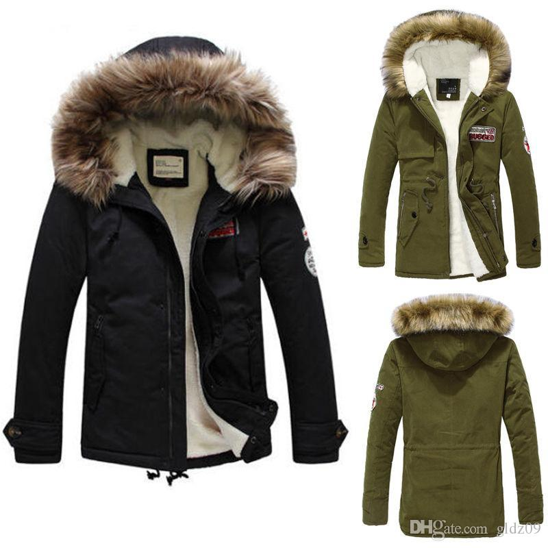 Mens Warm Fur Collar Hooded Parka Winter Thick Cotton Coat Outwear ...