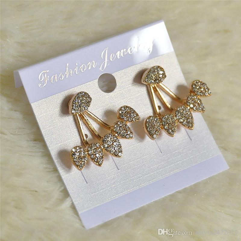مزدوجة من جانب القرط استيلاد للنساء ثقب القرط الأزياء والمجوهرات فضية مطلية بالذهب حجر الراين كريستال قطرة الماء مربط القرط