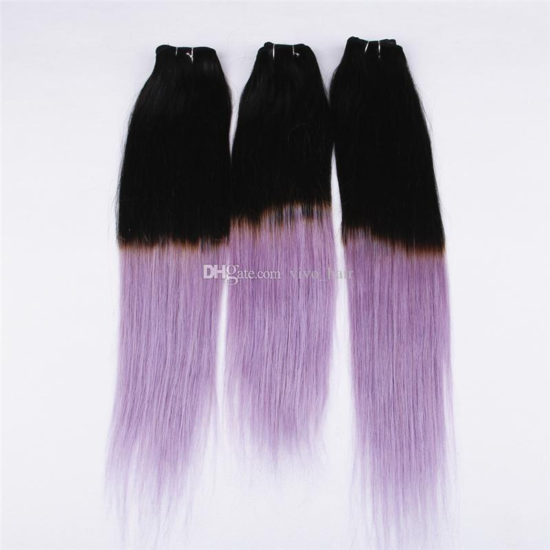 Two Tone 1b Purple Ombre Straight Hair 3 Bundles Black To Violet
