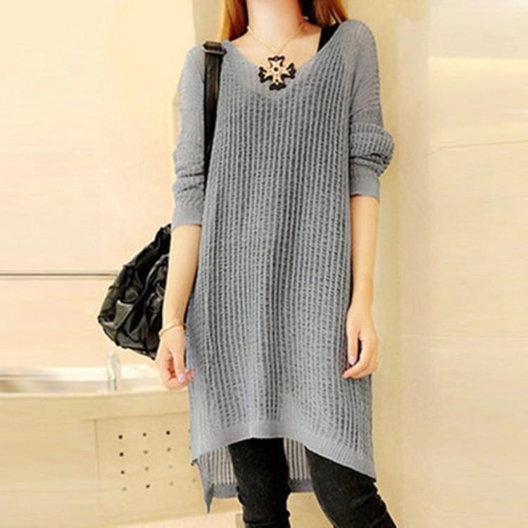 2018 Fall 2015 Latest Long Sleeve Sweater Long Dresses Fashion ...