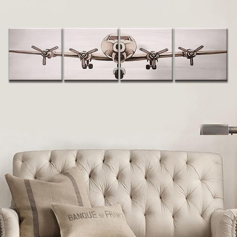 4 Panel Modern Printed Canvas Painting Aircraft Wall Picture Art For Living Room Unframed HD Picture Home Decoration Room Arts