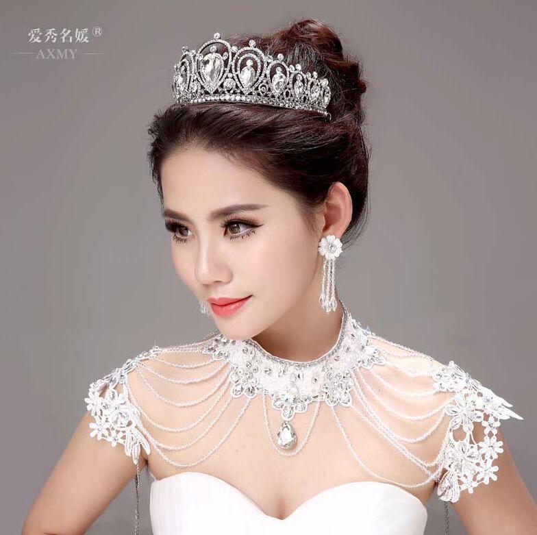 Hairstyles For Wedding Using A Crown: The Bride Tiara Crown Earrings Three Piece Suit Korean